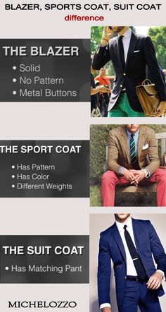 The difference between a blazer, sports coat and suit coat. Fine custom dress shirts - Michelozzo