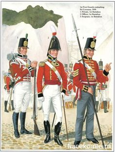1st foot Guards embarking for Corunna 1808 1_Private, 1st Battalion 2_Officer,1st Battalion 3_Sergeant, 1st Battalion