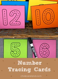 Number Tracing Cards Early Learning Activities, Classroom Activities, Pre Writing, Writing Skills, Number Identification, Number Tracing, Alphabet Tracing, Card Stock, Kindergarten