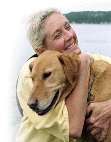 senior dog woman hugging