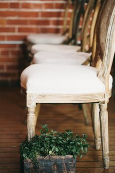 #chairs wedding aisle lined with planters | Photography by jacshoot.com, florals by http://www.hollyflora.com   Read more - http://www.stylemepretty.com/2013/08/12/los-angeles-wedding-from-jac-photography/