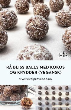HELT RÅ BLISS BALLS MED KOKOS OG KRYDDER (VEGANSK) Bliss Balls, Bon Appetit, Snacks, Cookies, Chocolate, Breakfast, Desserts, Food, Crack Crackers