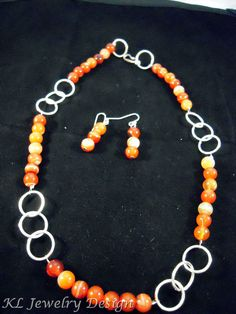 Red Banded Agate Necklace and Earrings Set by KL Jewelry Design, $23.00