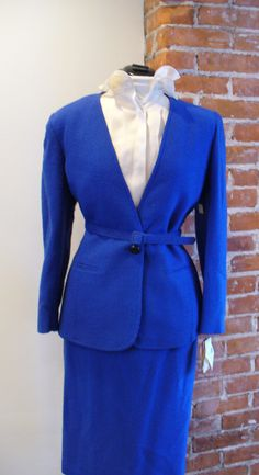 Christian Dior Vintage Woman's Crepe Wool Suit Size 14 by TheOldBagOnline on Etsy