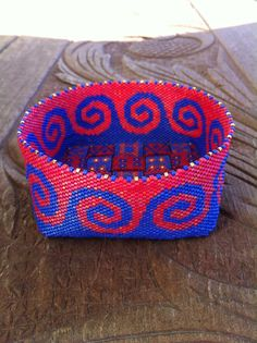 Beaded Basket with Red and Blue Celtic Wave Design, Peyote Stitch with Woven Strip Bottom, 3.75 inch diameter on Etsy, $175.00