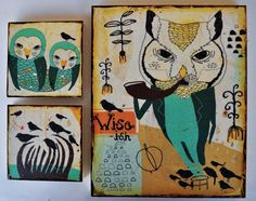Wiseishmixed media prints on wood panels by retrowhale on Etsy