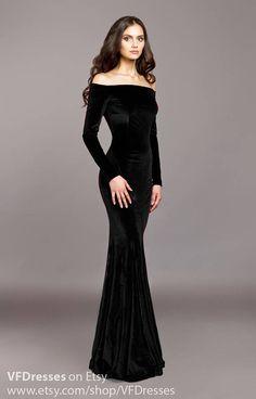 black friday -- off the shoulder gown!! --- Black velvet dress Black dress special occasion dress Sexy