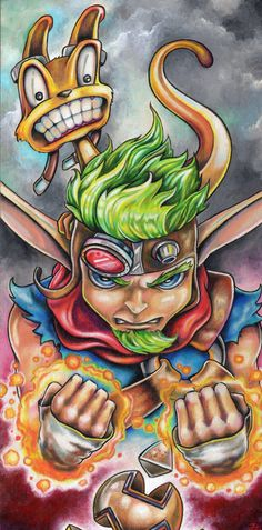 Jak and Daxter original colored pencil and acrylic by bryancollins, $275.00