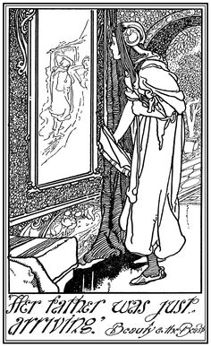 """Her father was just arriving. From """"Tales of Passed Times"""" (1900) illustrated by Charles Robinson"""