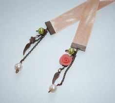 Apricot Satin Ribbon Bookmark with Copper Angel Wings by heraglass, $17.50