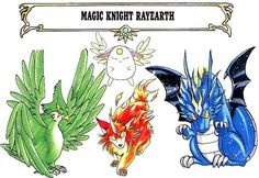 The Mashin: Windom, Rayearth and Celes, and Mokona from CLAMP's Magic Knight Rayearth