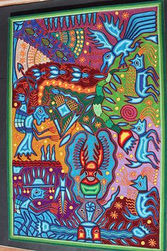 MEXICAN XXL HUICHOL NATIVE ETHNIC NEW YARN PAINTING HOME WALL HANGING DECOR