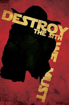 Destroy the Sith We Must (Star Wars illustrations - propaganda style) | By: Patty McPancakes, via GeekTyrant (#starwars #yoda #sith) Star War 3, Star Wars Art, Star Wars Poster, Love Stars, Science Fiction, Chewbacca Defense, Rebel Alliance, Propaganda Art, Lightsaber