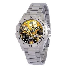 "Marvel Comics Men's MA0710-D162-Bracelet Marvel 'Ghost Rider' Defender Watch Marvel Comics. $26.99. Case diameter: 40.00 mm. Water-resistant to 99 feet (30 M). Marvel character featured on dial. Uni-directional rotating bezel. Men's Marvel ""Defender"" Watch. Save 23%!"