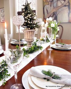 Green, white and silver Christmas tablescape.