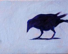 Raven Bird Painting Original Miniature on by smallimpressions, $35.00