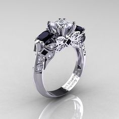 Classic White Gold Three Stone Princess Black and White Diamond Solitaire Engagement Ring