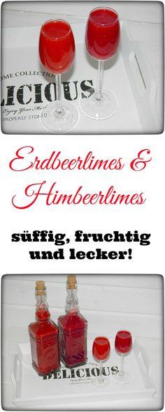 """Heute gibt´s mal wieder was süffiges und leckeres: Erdbeerlimes & Himbeerlimes. Diesen gibt es bei mir sowohl zur Sommer- als auch zur Winterzeit, denn der Limes ist sowas von lecker, dass man diesen immer wieder """"produzieren"""" muss, wenn man einmal vom Erdbeerlimes-Virus infiziert wurde. Im Thermomix und ohne sehr schnell """"produziert""""."""