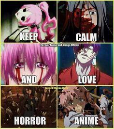 My favorite type of anime!! Animes: shiki,Corpse party, Elfen lied,Tokyo Ghoul, Another,Miari nikki