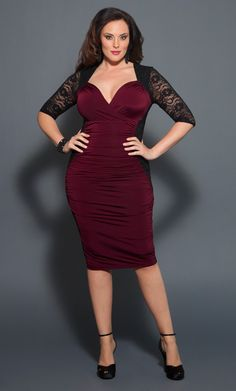 VA-VA-VOOM! Curve hugging dressy jersey and black lace make for a dangerously sexy combination in the Plus Size Valentina Illusion Dress by Kiyonna. #plussize #kiyonna