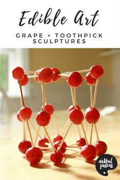 Grape and toothpick sculptures are edible art projects that double as a healthy snack for kids. Fun to make and tasty to eat! via Artful Parent Edible Crafts, Food Crafts, Edible Art, Kids Cooking Recipes, Cooking With Kids, Kids Meals, Cooking Tips, Kid Recipes, Cooking Classes