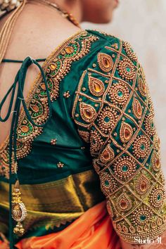 Bridal blouses Blouses are the heart of your wedding attire, so here's a board. - Bridal blouses Blouses are the heart of your wedding attire, so here's a board completely dedicat - Wedding Saree Blouse Designs, Saree Blouse Neck Designs, Fancy Blouse Designs, South Indian Blouse Designs, Wedding Blouses, Blouse Patterns, Peacock Blouse Designs, Traditional Blouse Designs, Kerala Saree Blouse Designs