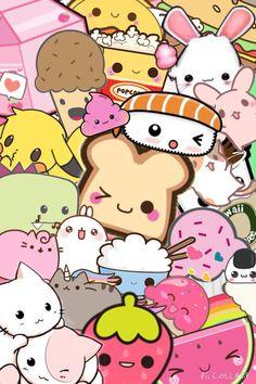 Kawaii Characters wallpaper by - - Free on ZEDGE™ Cute Kawaii Drawings, Kawaii Doodles, Kawaii Chibi, Kawaii Art, Kawaii Anime, Cute Backgrounds, Cute Wallpapers, Character Wallpaper, Kawaii Wallpaper