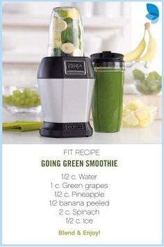 Start your day off right with a healthy and delicious smoothie. A great way to get your 8 servings of fruits and veggies with this simple and easy to make smoothie! by lorene Smoothie Vert, Juice Smoothie, Smoothie Drinks, Smoothie Cleanse, Jamba Juice, Juice Cleanse, Detox Drinks, Nutribullet Recipes, Blender Recipes