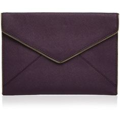 Rebecca Minkoff Clutch - Leo ($100) ❤ liked on Polyvore featuring bags, handbags, clutches, aubergine, rebecca minkoff, purple purse, purple handbags, rebecca minkoff handbags and rebecca minkoff clutches