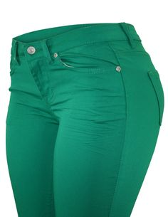 Cielo Women's Mid-rise Color Skinny Jeans Green 7075-1