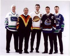 Canucks' Team Captains (left to right): Orland Kurtenbach Stan Smyl Trevor Linden Markus Naslund Henrik Sedin Hockey Games, Hockey Players, Ice Hockey, Henrik Sedin, Canada Hockey, Hockey Boards, Goalie Mask, Vancouver Canucks, My Boys