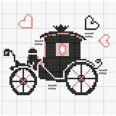 Coach pattern / chart for cros Wedding Cross Stitch, Mini Cross Stitch, Cross Stitch Heart, Diy Embroidery, Cross Stitch Embroidery, Embroidery Patterns, Cross Stitch Patterns, Cross Stitch Boards, Tapestry Crochet