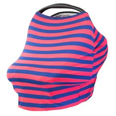 CORAL & NAVY - Multi Use Baby Car Seat Canopy and Nursing Cover