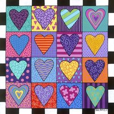 Carla Bank Solid-Faced Canvas Print Wall Art Print entitled Sixteen Hearts, None Wall Art Prints, Poster Prints, Framed Prints, Canvas Prints, Heart Painting, Valentines Art, Collaborative Art, Art Lessons Elementary, Winter Art