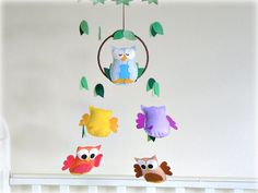 Owl mobile  blue orange yellow purple and brown  by LullabyMobiles, $161.00