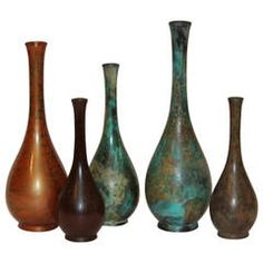 Collection Vintage Japanese Patinated Bronze Long Neck Bottle Vases