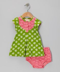 Take a look at this Green Hydrangea Organic Dress & Diaper Cover - Infant & Toddler on zulily today!