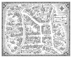 """Lawton Square Map by Mike Schley  A fictional map of a turn-of-the-century Boston neighborhood created for """"The Mastermind Plot: A Suzanna Snow Mystery"""" by Angie Frasier. Published by Scholastic Press."""