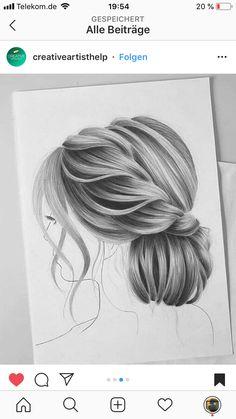 pencil drawings of love Realistic Hair Drawing, Girl Hair Drawing, Girl Drawing Sketches, Art Drawings Sketches Simple, Amazing Drawings, Pencil Art Drawings, Colorful Drawings, Cute Drawings, Hair Sketch