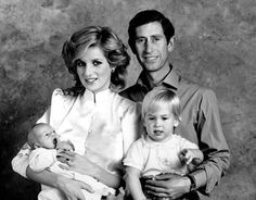 Prince Charles, Princess Diana and Princes William and Harry pose for a family portrait at Kensington Palace in 1984