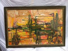 1950's Abstract Landscape by Patricia Shook Absher Casein Medium Large Colorful | eBay