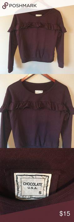 Burgundy Ruffle Sleeve Sweatshirt A beautiful burgundy sweatshirt with ruffles on the front and top sleeves. Worn 1x  Great condition Brand: Chocolate USA - bought at a local boutique Chocolate USA Tops Sweatshirts & Hoodies