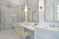 lucite chair // master bathroom traditional bathroom