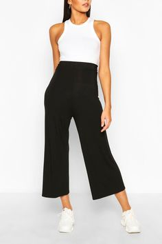 Womens Tall High Waist Basic Jersey Culottes - black - 8 - Tall High Waist Basic Jersey Culottes Clothing For Tall Women, Women's Clothing, Clothes For Women, Coulottes, How To Look Skinnier, Dress Outfits, Dresses, Marie Claire, Wide Leg Pants