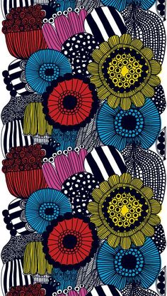 The Siirtolapuutarha fabric is a beautiful multi-colored fabric design by Maija Louekari for Marimekko. The geometric and bold flowers are bound to make a statement in any room of the house. Available in different colors. Textile Patterns, Textile Prints, Textile Design, Fabric Design, Print Patterns, Lino Prints, Floral Patterns, Block Prints, Doodle Patterns