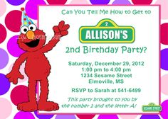20 Printed Elmo and Abby Birthday Invitation