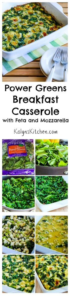 This Power Greens Breakfast Casserole with Feta and Mozzarella is a breakfast dish I've made over and over.  It keeps in the fridge for at least a week, and I love having a healthy breakfast already made that's easy to heat and eat! #LowCarb #GlutenFree [from KalynsKitchen.com]