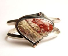 Sterling Silver and Copper Cuff Bracelet - Crazy Lace Agate by Rachel M Post www.rachelmpost.com