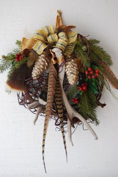 Christmas Pinecones and Antler Wreath. $95.00, via Etsy.