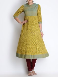 Buy Yellow Green Ajrakh Printed Kalidar Cotton Kurta Apparel Tunics & Kurtas Meraki Block Clothing Online at Jaypore.com